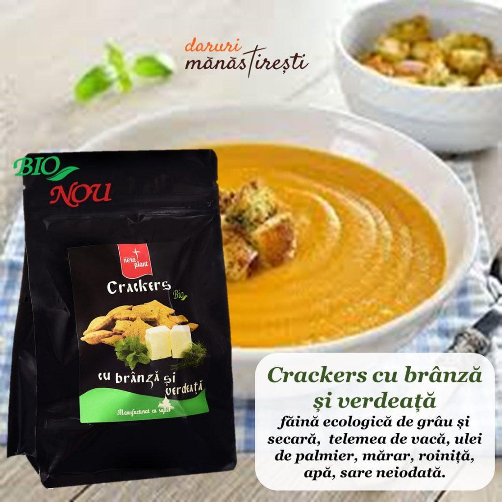 Supa crema legume cu Crackers-brânză-verdeață
