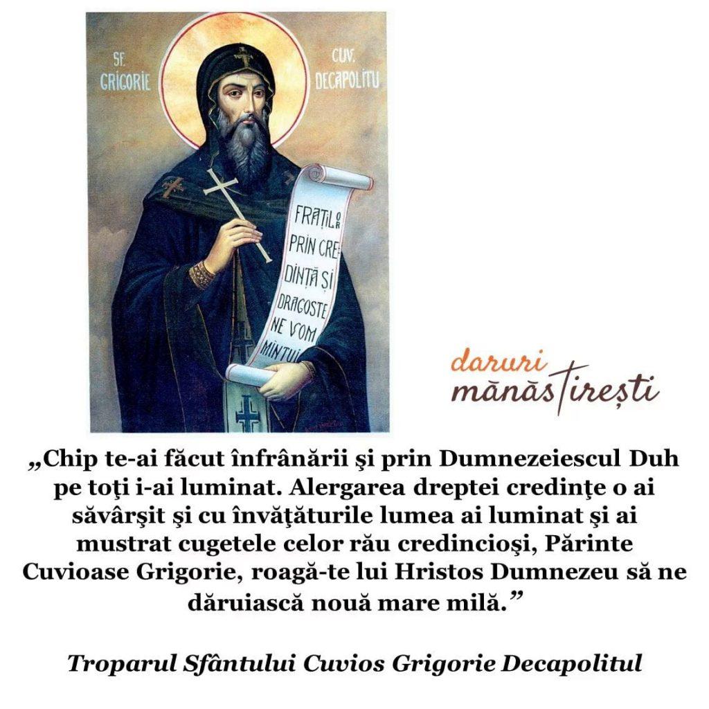 Viața Sfântului Cuvios Grigorie Decapolitul de la Mănăstirea Bistrița din Vâlcea