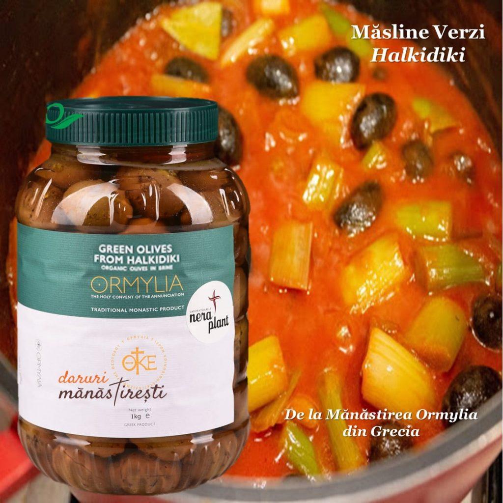 Mâncare de praz cu Măsline-verzi-Halikidi
